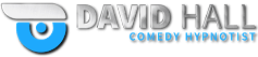 David Hall Comedy Hypnotist Blue Logo